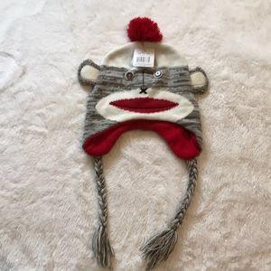 Ladies sock monkey stocking cap winter NWT
